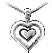 Cremation Jewelry, solid 950 Platinum heart pendant with diamonds. Platinum inner heart is available with fine Sapphire Crystal window.