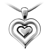Cremation Jewelry, solid White Gold outer heart pendant. White Gold inner heart is available with fine Sapphire Crystal window.